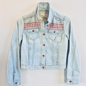 White Crow Embroidered Denim Jacket Size Small